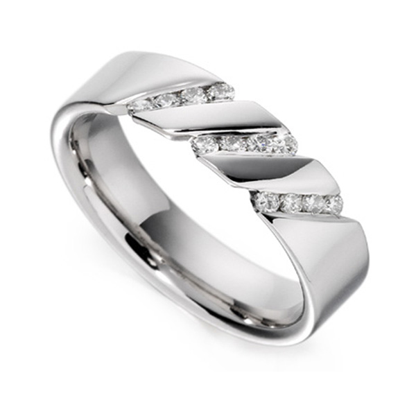 0.18cts Diagonal Channel Diamond Wedding Ring