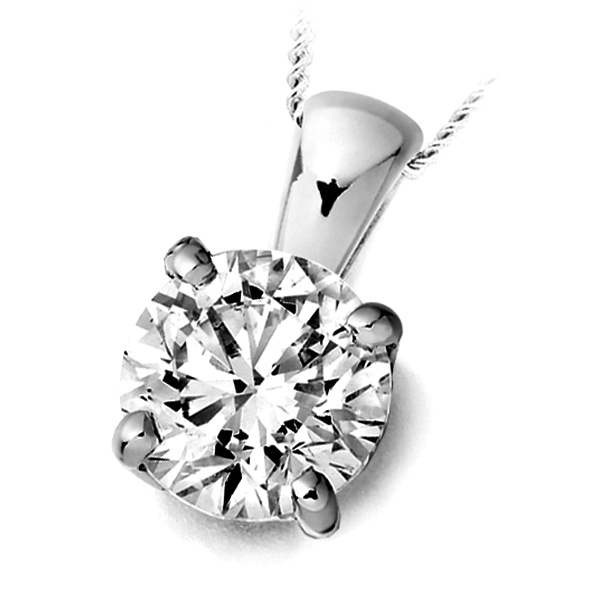 4 Prong Round Diamond Solitaire Pendant