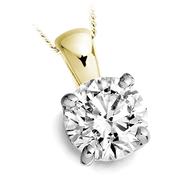 4 Prong Round Diamond Solitaire Pendant In Yellow Gold
