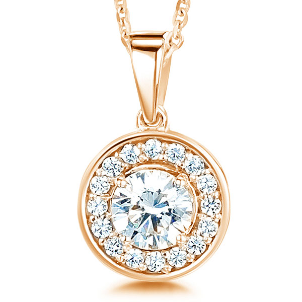 Modern Classic Round Diamond Halo Pendant In Rose Gold