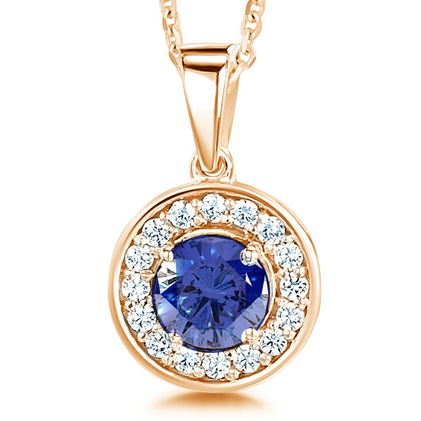 Blue Sapphire and Diamond Halo Pendant In Rose Gold
