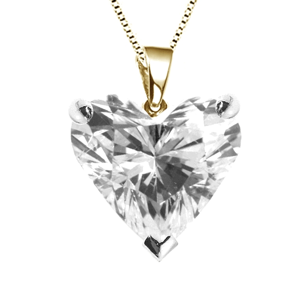 3 Claw Heart Shaped Diamond Solitaire Pendant In Yellow Gold