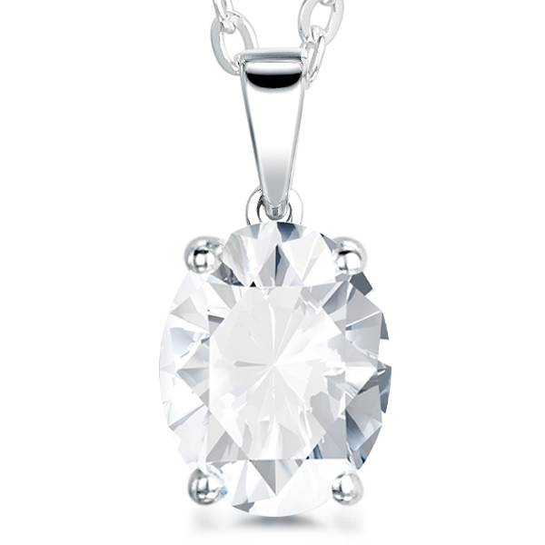 4 Claw Oval Diamond Solitaire Pendant