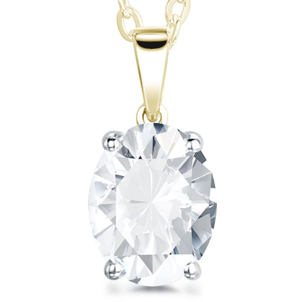 4 Claw Oval Diamond Solitaire Pendant In Yellow Gold