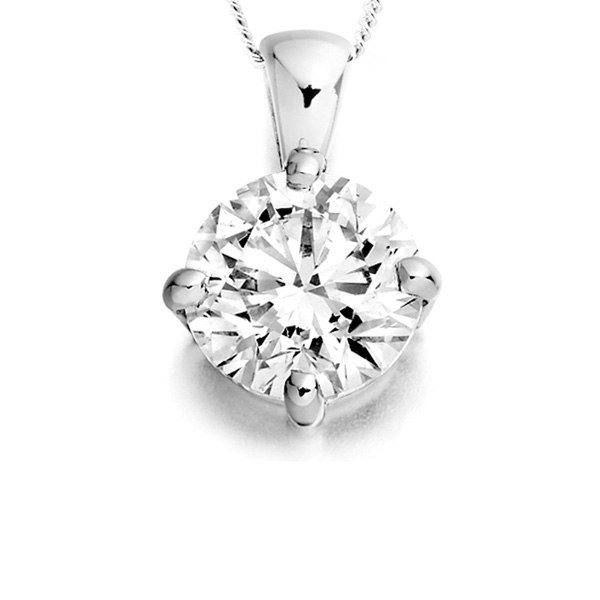 4 Claw Compass Set Round Solitaire Pendant