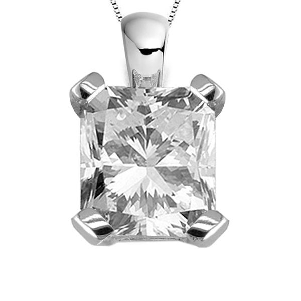 4 Claw Radiant Cut Diamond Solitaire Pendant