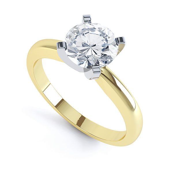 4 Claw Round Diamond Solitaire Engagement Ring yellow gold
