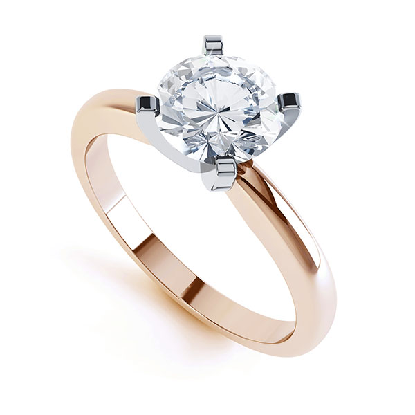 4 Claw Round Diamond Solitaire Engagement Ring Side View
