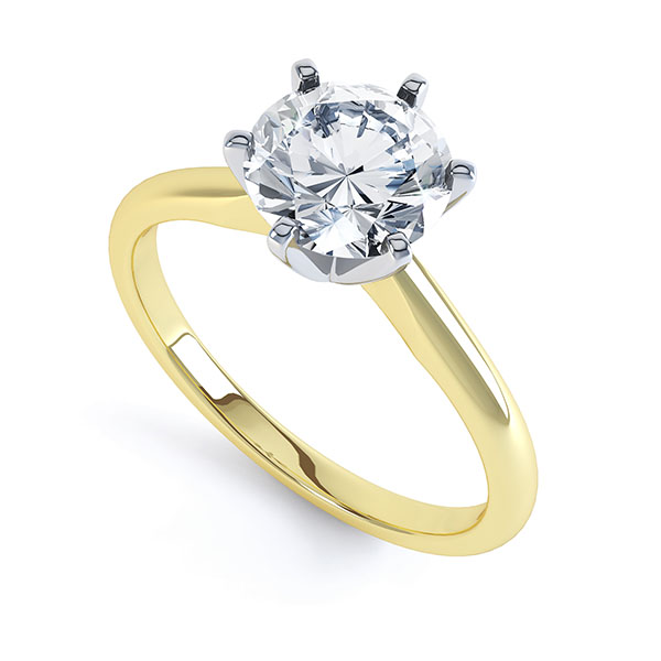 6 Claw Open Solitaire Diamond Engagement Ring In Yellow Gold