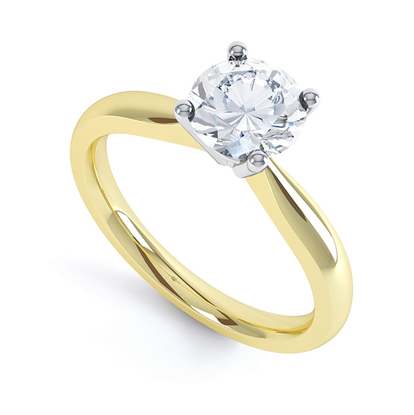 Perfect Four Claw Round Solitaire Engagement Ring In Yellow Gold