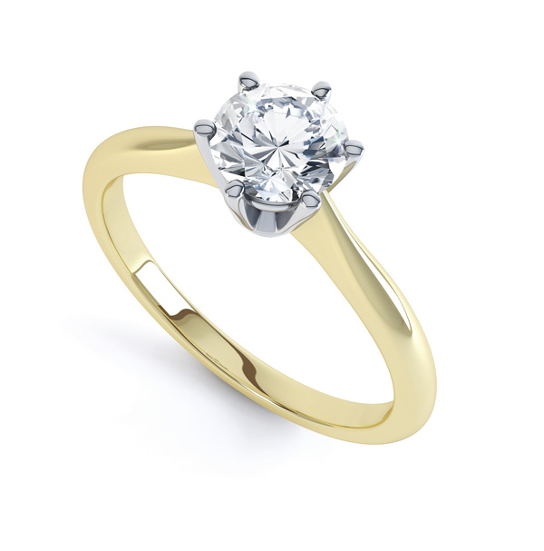 Timeless 6 Claw Diamond Solitaire Engagement Ring In Yellow Gold
