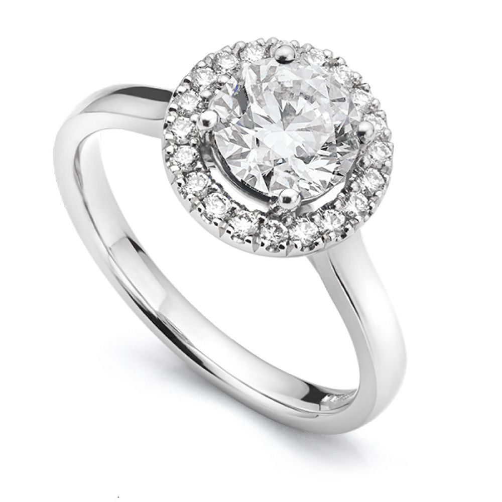 Diamond Halo Engagement Ring With Plain Shoulders