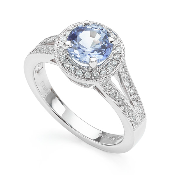 Pale blue sapphire and diamond engagement ring perspective view