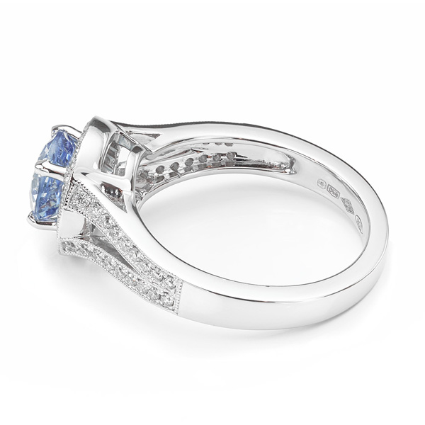 Vintage pale blue sapphire and diamond Gatsby ring
