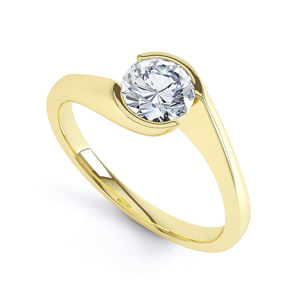 Chloe engagement ring yellow gold top view