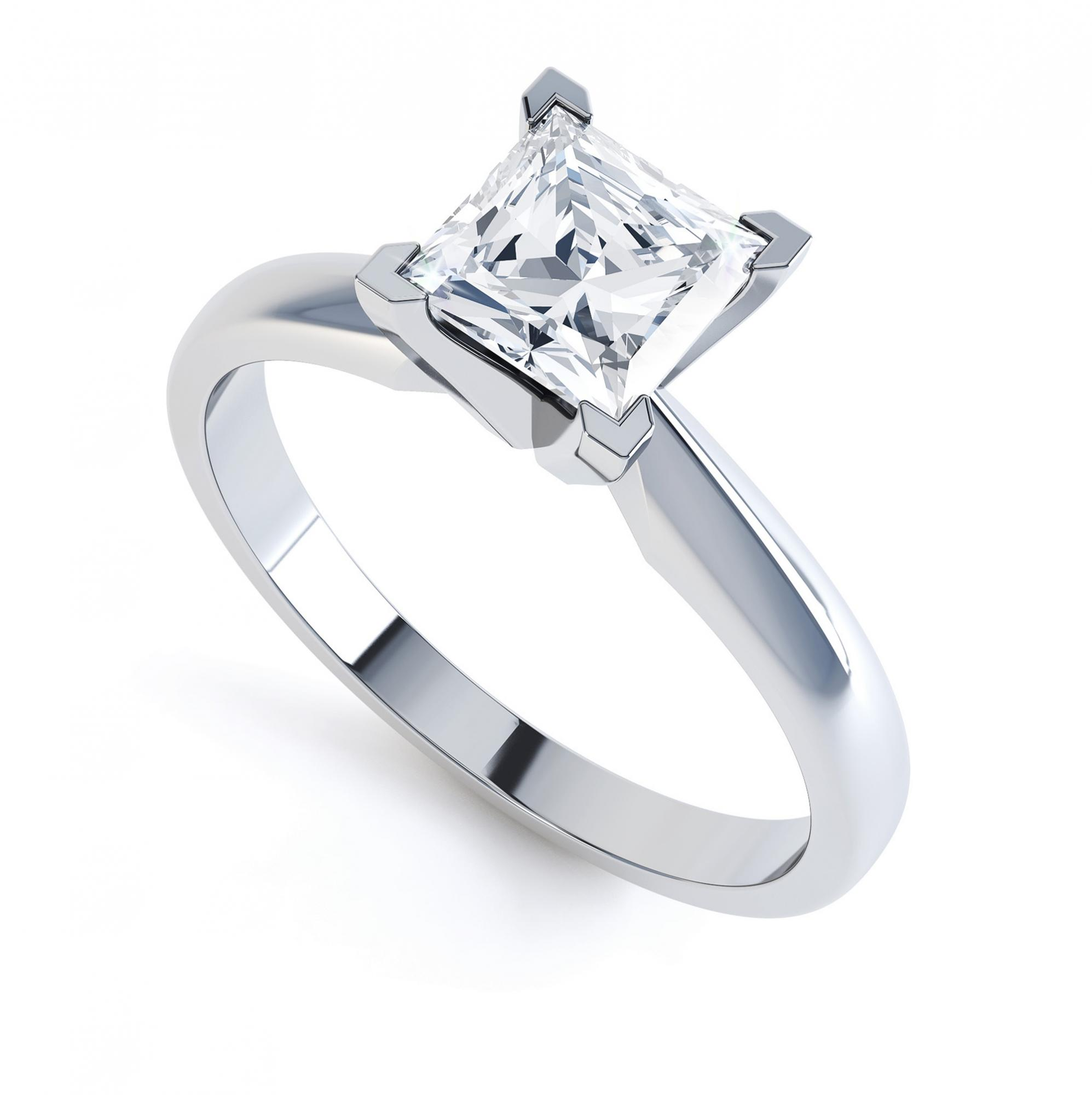 Aurora Princess Cut Solitaire Engagement Ring Perpective White Gold