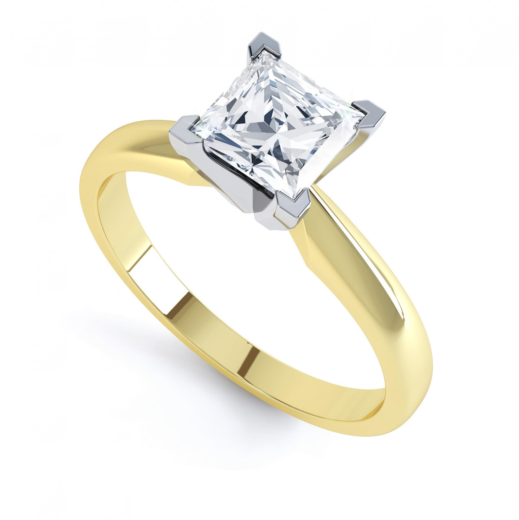 4 Claw Princess cut engagement ring Aurora perspective view yellow gold