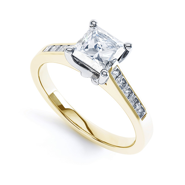 Fliss 4 claw Princess cut diamond engagement ring diamond shoulders perspective view in yellow gold