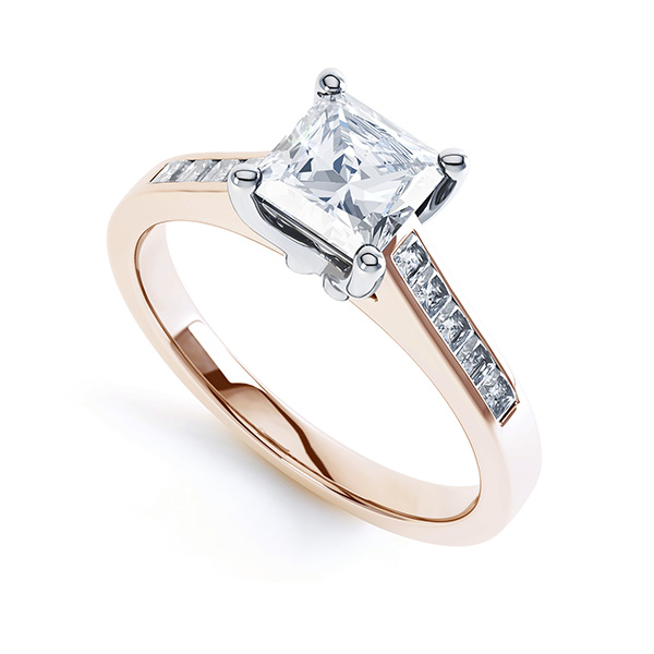 Fliss 4 claw Princess cut diamond engagement ring diamond shoulders perspective view in rose gold