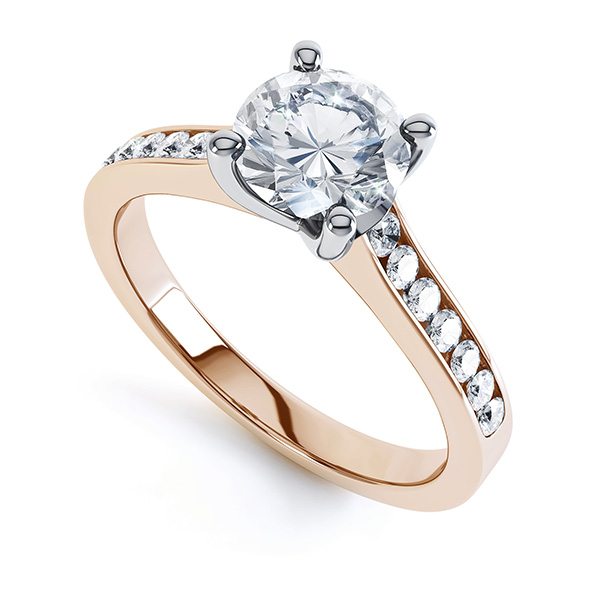 4 Claw Round Solitaire Diamond Shoulders Rose Gold