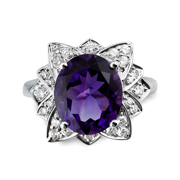 Ornate Amethyst & Diamond Floral Cluster Ring