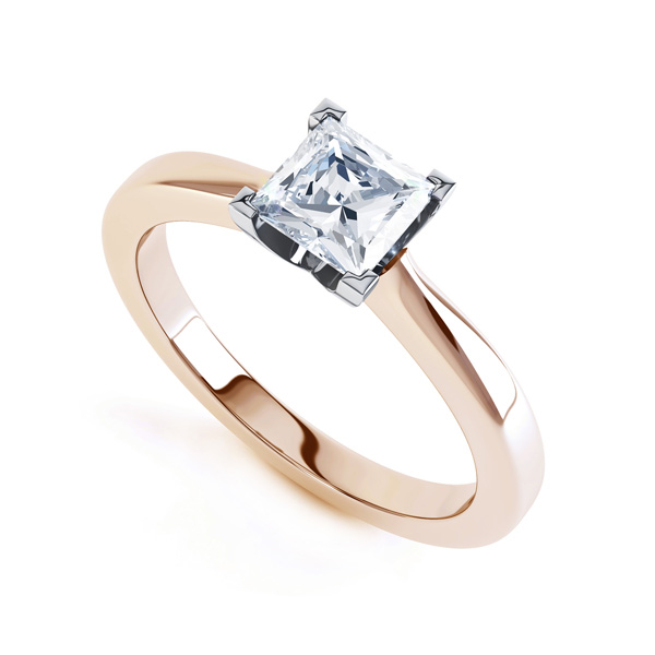 Modern 4 Claw Princess Solitaire Diamond Ring In Rose Gold
