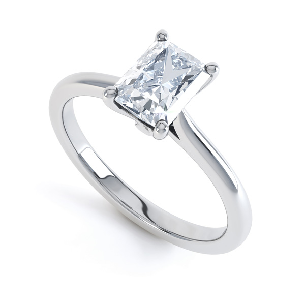 Classic 4 Claw Emerald Cut Diamond Solitaire