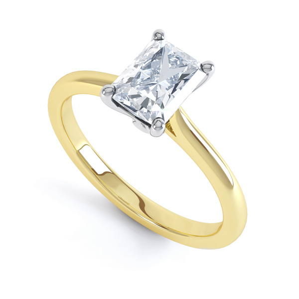Classic 4 Claw Emerald Cut Diamond Solitaire In Yellow Gold