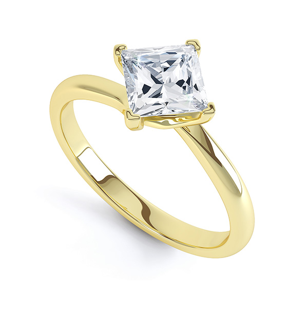 4 Claw Princess Diamond Twist Engagement Ring In Yellow Gold