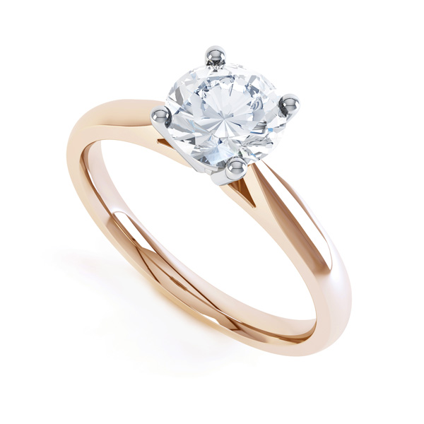 Harmony modern four claw diamond solitaire engagement ring front view rose gold