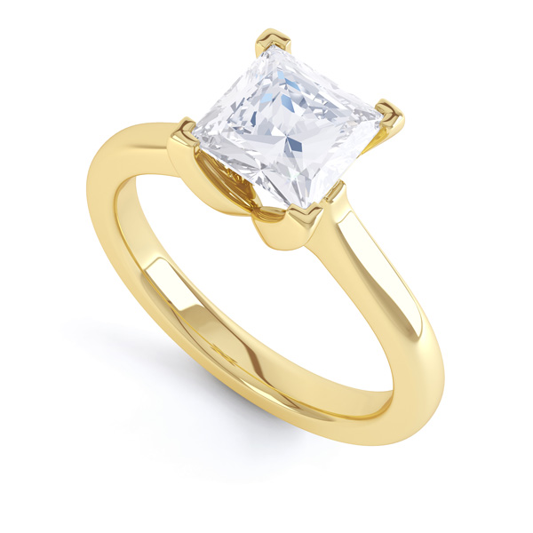 Folded 4 Claw Princess Cut Engagement Ring In Yellow Gold