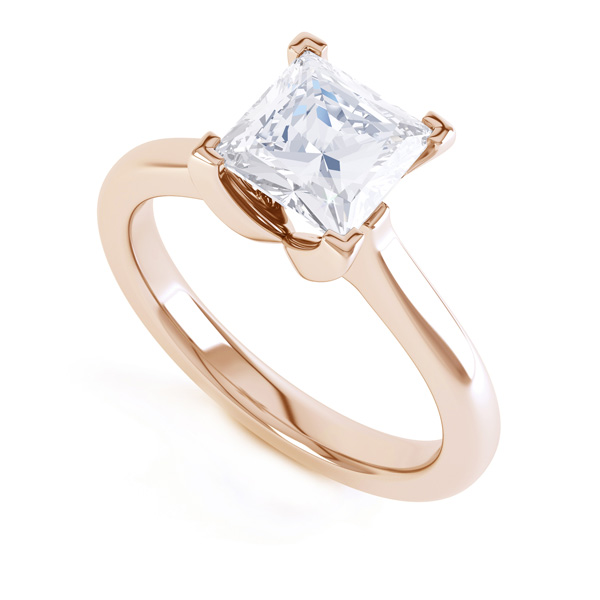 Folded 4 Claw Princess Cut Engagement Ring In Rose Gold