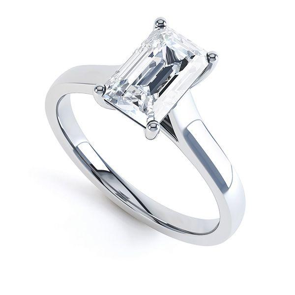 Modern 4 Claw Emerald Cut Solitaire Diamond Ring