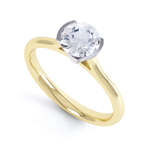 Fluted Part Engagement Ring with High Setting In Yellow Gold