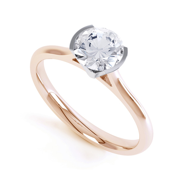 Fluted Part Engagement Ring with High Setting Rose Gold