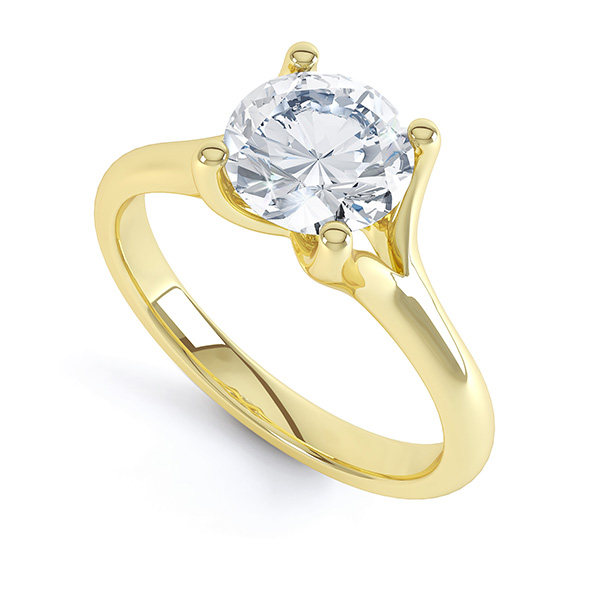 Forked Shoulder 4 Claw Solitaire Diamond Ring Perspective Yellow Gold