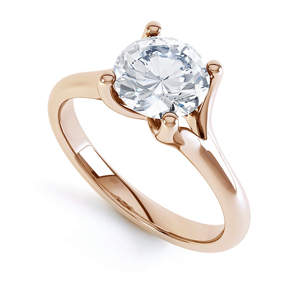 Split shoulder solitaire engagement ring Paris, perspective rose gold