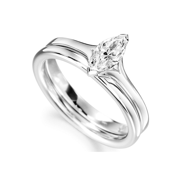 Split Shoulder 2 Claw Marquise Diamond Ring White Gold Perspective