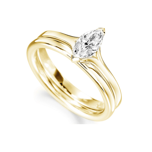 Split Shoulder 2 Claw Marquise Diamond Ring Yellow Gold Perspective