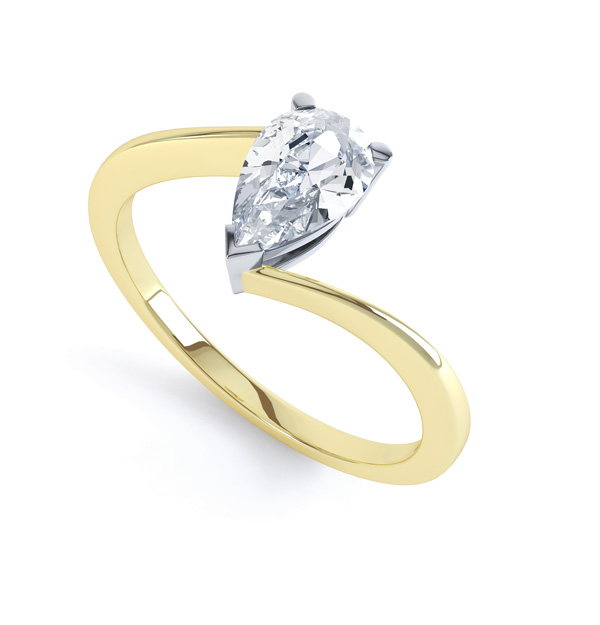 R1D068 Perspective, Pear shaped Twist Engagement Ring, Yellow Gold
