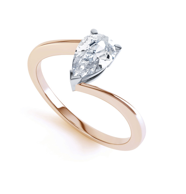 R1D068 Perspective, Pear shaped Twist Engagement Ring, Rose Gold