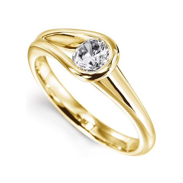 Loop Bezel Round SLoop Bezel Round Solitaire Engagement Ring - Yellow perspectiveolitaire Engagement Ring In Yellow Gold