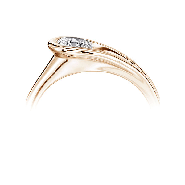 Loop Bezel RoundLoop Bezel Round Solitaire Engagement Ring - Rose perspective Solitaire Engagement Ring Side View