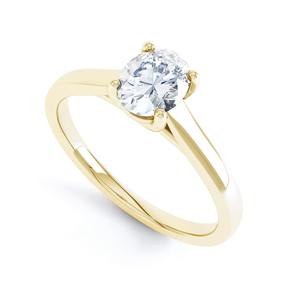 Modern Classic 4 Claw Oval Solitaire Engagement Ring In Yellow Gold