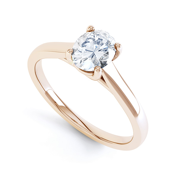 Modern Classic 4 Claw Oval Solitaire Engagement Ring In Rose Gold