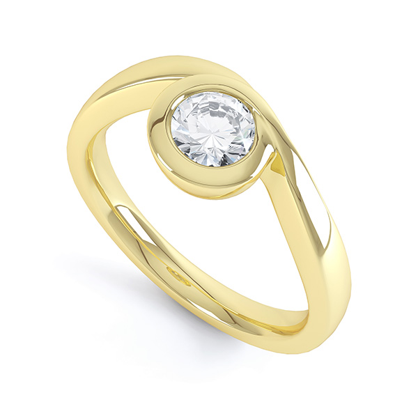 Asymmetrical Full Bezel Diamond Engagement Ring Side View