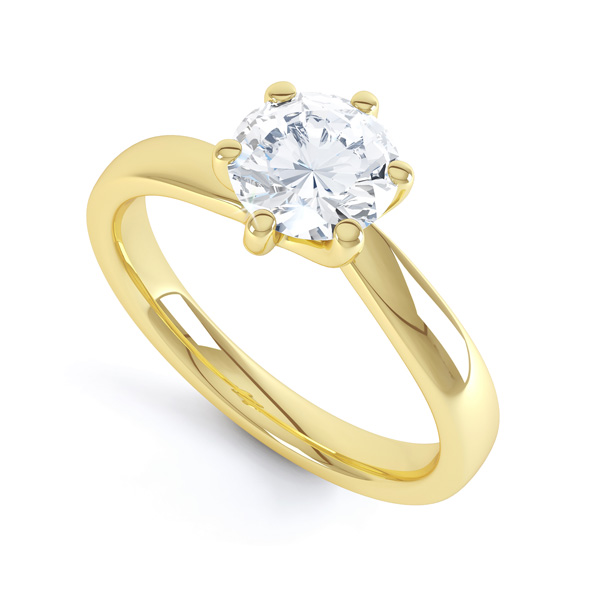 6 Claw Twist Solitaire Diamond ring - perspective yellow