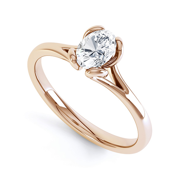 Oval Solitaire Ring with Looped 4 Claw Setting Perspective View Rose Gold