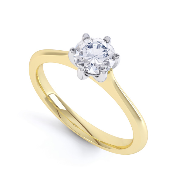 6 Claw Diamond Engagement Ring with Basket Setting In Yellow Gold