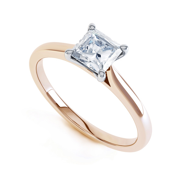 4 Prong Princess Engagement Ring Wedfit Setting In Rose Gold